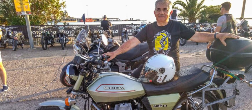 """""""Old school"""" meeting in Patras: with Giuseppe on his V35 II"""